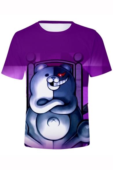 New Trendy Cartoon Black and White Bear Printed Short Sleeve Purple T-Shirt
