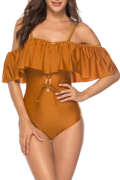 Off The Shoulder Short Sleeve Ruffle Cut-Out Front Flora Animal Printed One Piece Swimwear