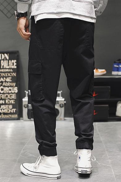 Simple Letter N Ribbon Pocket Side Mens Fashion Black Loose Track Pants Cargo Pants