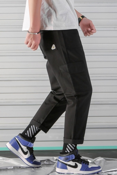 Summer Basic Simple Rolled Hem Loose Casual Straight-Leg Guys Cargo Trousers