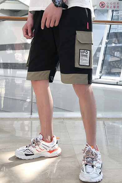 Summer Trendy Colorblock Simple Letter UFO Pocket Drawstring Waist Loose Fit Cargo Shorts
