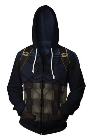 Cosplay Costume Long Sleeve Zip Up Comic Navy Hoodie