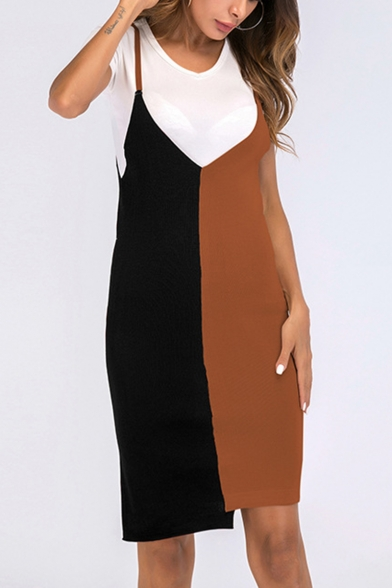 Women's Fashion Commute Color Block V-Neck Mini Knit Slip Bodycon Dress