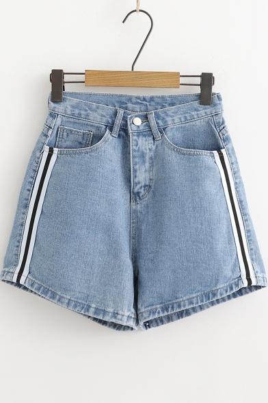Women's Side Stripes Printed Loose High Waist Wide-Leg Blue Denim Shorts
