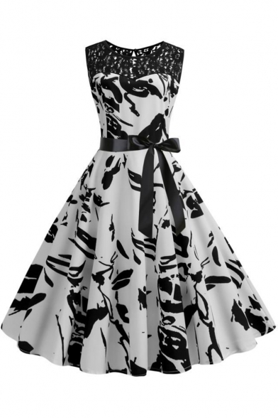 Women's Trendy Vintage Printed Lace Panel Sleeveless Bow-Tied Waist White Midi Fit and Flared Dress