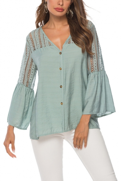 Womens New Trendy Lace-Up Hollow out Flared Sleeve Buttons Down Green Shirt