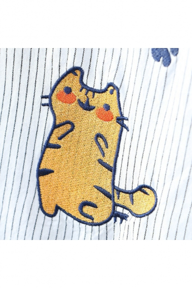 Cartoon Cat Shell Embroidery Button Front Short Sleeve Stripes Blouse