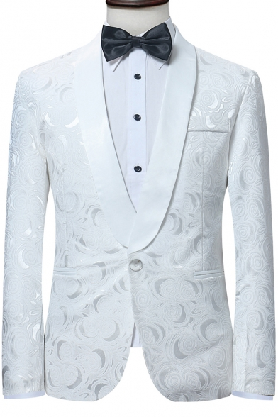 good out x select for newest hot-selling professional Fancy Floral Pattern Long Sleeve Shawl Collar Single Button White