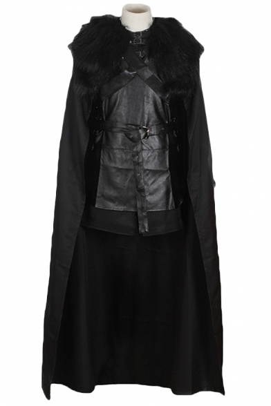 Game of Thrones Jon Snow Cosplay Costume Black Cape Cloak
