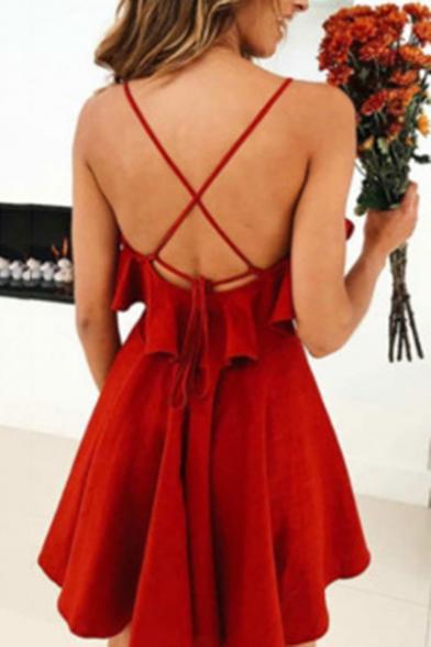 Hot Popular Crisscross Open Back Fashion Plain Ruffle Design Mini Slip A-Line Dress