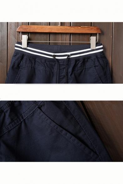 Men's Fashion Striped Drawstring Waist Rolled-Cuff Casual Straight Shorts