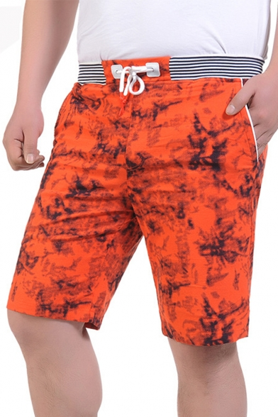 Men's New Stylish Drawstring Waist Tie-Dye Pattern Casual Relaxed Shorts