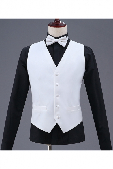 Men's Plain Single Breasted Belt Back Design Business Dress Waistcoat
