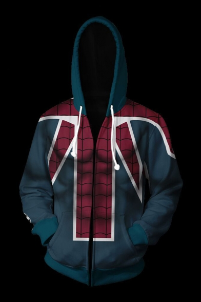 New Arrival Trendy Colorblocked Spider Man Cosplay Zip Up Hoodie in Green