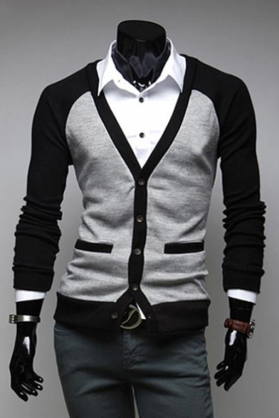 New Stylish Color Block Long Sleeve V-Neck Button Down Slim Fit Cardigan for Men