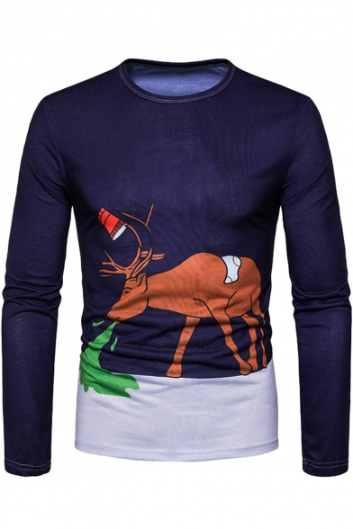 New Stylish Creative Cartoon Camel Printed Round Neck Long Sleeve Navy T-Shirt