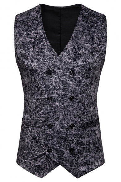 Nightclub Stylish Texture Printed Buckle Back Double Breasted Slim Fit Mens Suit Vest