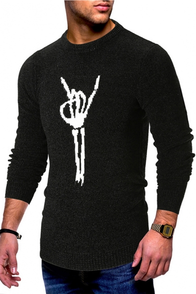 d3c8c9ea193 Popular Cool Skull Hand Gesture Print Mens Crewneck Long Sleeve Fitted