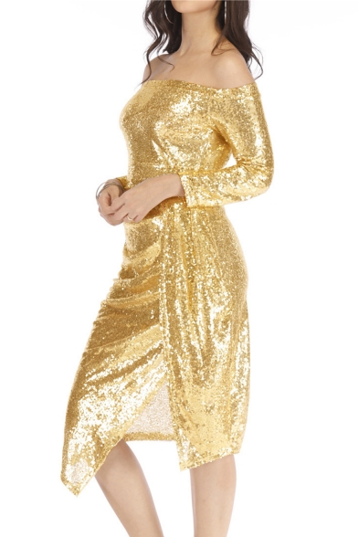 Sexy Off the Shoulder Split Hem Sequined Metal Color Midi Bodycon Dress
