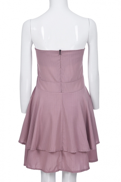 Sexy Trendy Striped Print Strapless Ruffle Hem Tied Back Mini Bandeau A-Line Dress