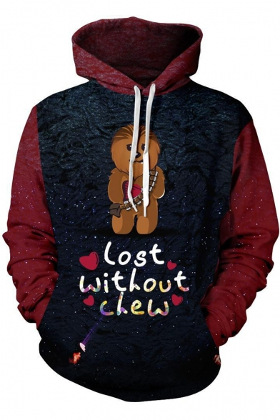 Star Wars 3D Animal Heart Letter LOST WITHOUT CHEW Printed Colorblock Casual Unisex Pullover Hoodie