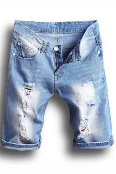 Summer Mens Simple Ripped Rolled Cuff Retro Light Blue Straight Fit Denim Shorts