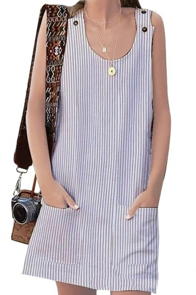 Trendy Classic Stripes Printed Buttons Patch Straps Sleeveless Mini Overall Dress