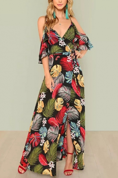 Women's Sexy V-Neck Cold Shoulder Floral Tropical Printed Split Hem Floor Length Beach Dress