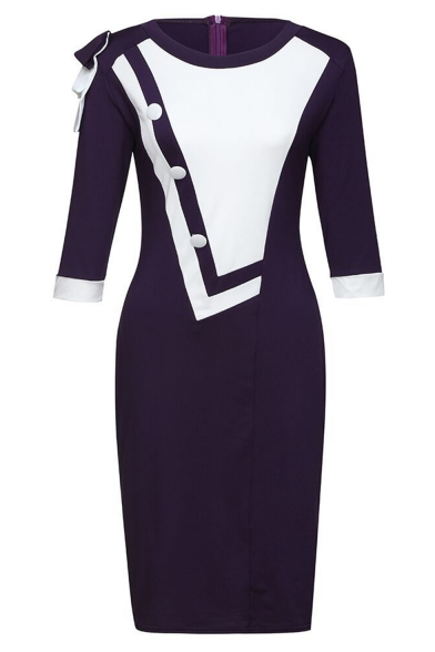 Womens Commute Buttons Patched Colorblocked Round Neck Three-Quarter Sleeve Midi Bodycon Dress