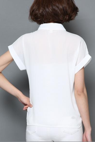 Womens Fashion Letter Hand Printed Lapel Collar Short Sleeve White Chiffon Shirt