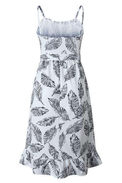 Womens New Trendy Tropical Leaves Printed Ruffle Hem Midi Slip Dress for Women