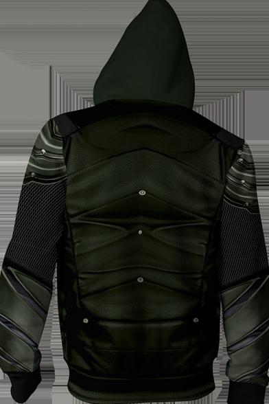 New Trendy Comic Cosplay Costume Long Sleeve Green Zip Hoodie