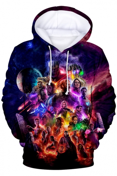 Avengers 4 Endgame Popular 3D Film Figure Printed Sport Loose Fit Drawstring Hoodie