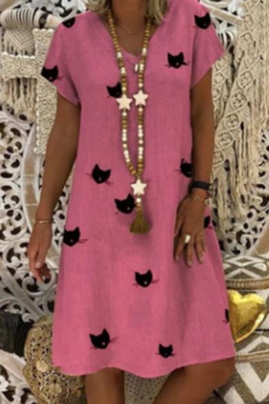 Cartoon Cat Printed V-Neck Short Sleeves Midi T-Shirt A-Line Dress