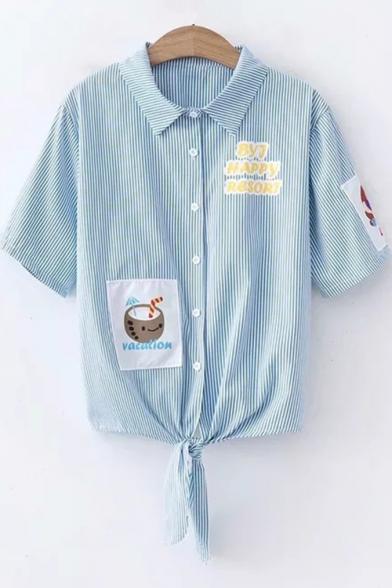 Cute Cartoon Letter Stripes Printed Short Sleeved Tied Hem Sky Blue Shirt