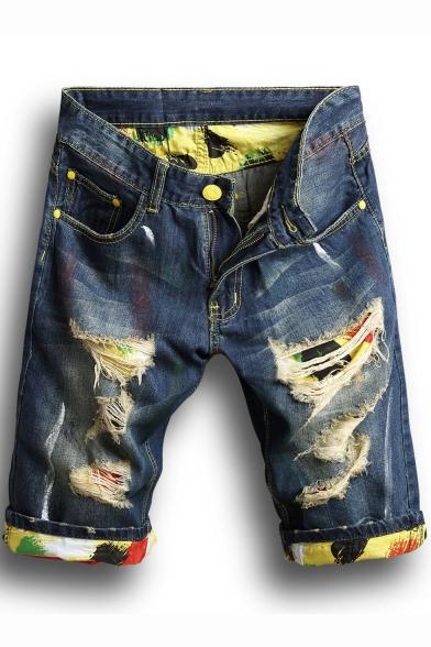 Guys Unique Camo Printed Rolled Cuff Destroyed Ripped Slim Fit Indigo Denim Shorts
