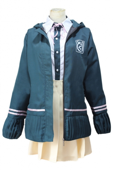 Lovely Cosplay Costume Logo Stripes Printed Zip Up Hoodie Coat Colorblocked Shirt with Mini A-Line Skirt Green Three-Piece Suit Co-ords