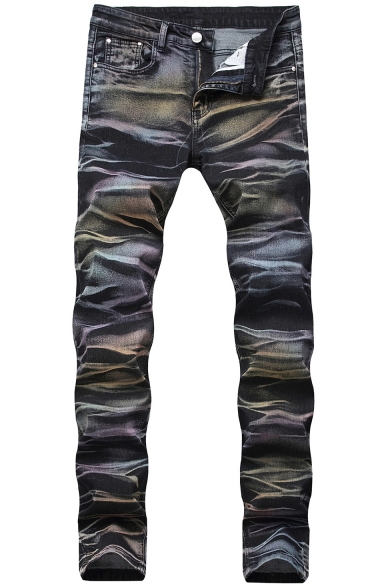 Men's Hot Popular Cool Washed Stretch Fit Rainbow Jeans