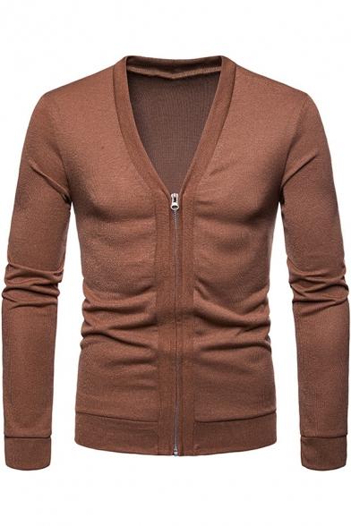 Men's New Trendy Plain Long Sleeve Zip Closure V-Neck Slim Fit Cardigan