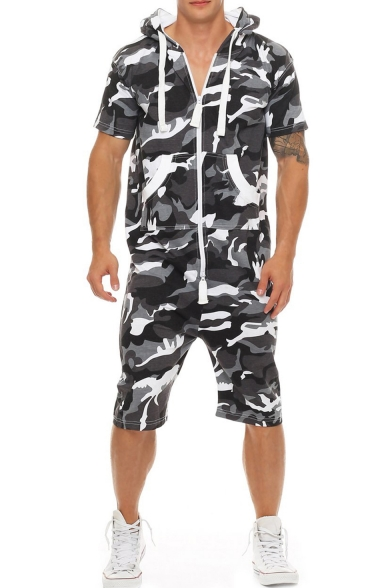 Men's Outdoor Fashion Camo Printed Short Sleeve Hoodie Sport Loose Zip Up Relaxed Fit Rompers