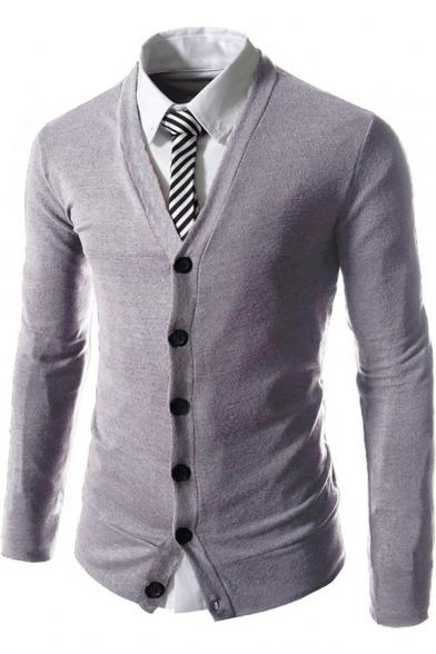 Mens Basic Simple Plain V-Neck Long Sleeve Light Grey Business Slim Fit Cardigan