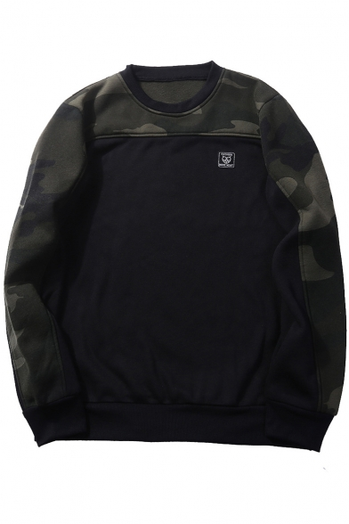 Mens Fashion Cool Camo Printed Logo Patched Round Neck Long Sleeve Casual Sweatshirt