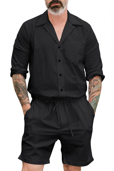 Mens New Stylish Simple Plain Long Sleeve Notched Lapel Collar Button Down Workwear Rompers