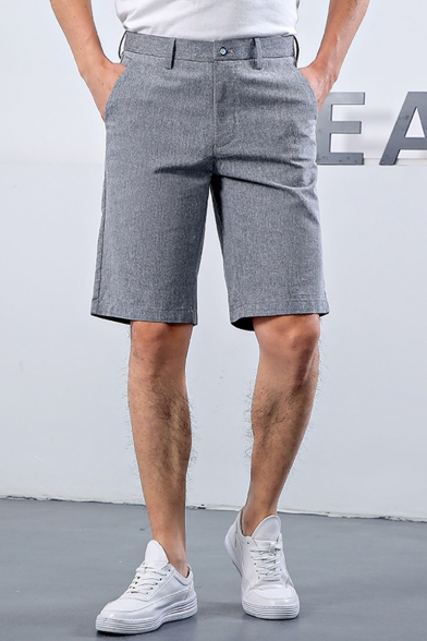 Mens Summer Basic Solid Color Cotton Tailored Grey Suit Shorts