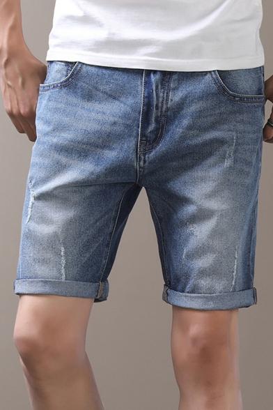 Mens Summer Basic Solid Color Rolled Cuff Slim Fit Light Blue Denim Shorts