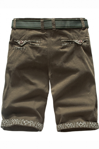 Mens Summer Fashion Printed Tailored Cotton Slim Fit Khaki Shorts