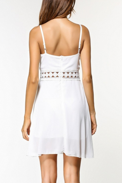 New Stylish Simple Plain Sexy Hollow Out Waist White Mini A-Line Cami Dress for Women