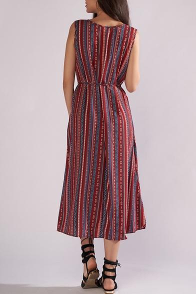 Retro Tribal Printed Round Neck Sleeveless Tied Waist Burgundy Midi A-Line Dress