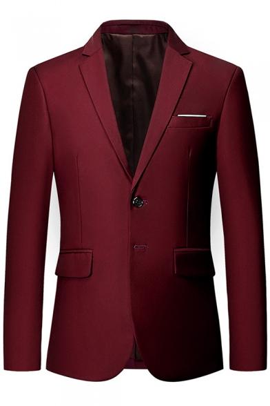Simple Plain Notched Lapel Long Sleeve Double Button Front Business Suits for Men