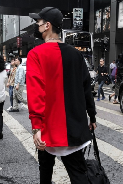 Street Style Colorblock Letter Graphic Printed Long Sleeve Cotton Asymmetrical Casual Unisex Sweatshirt